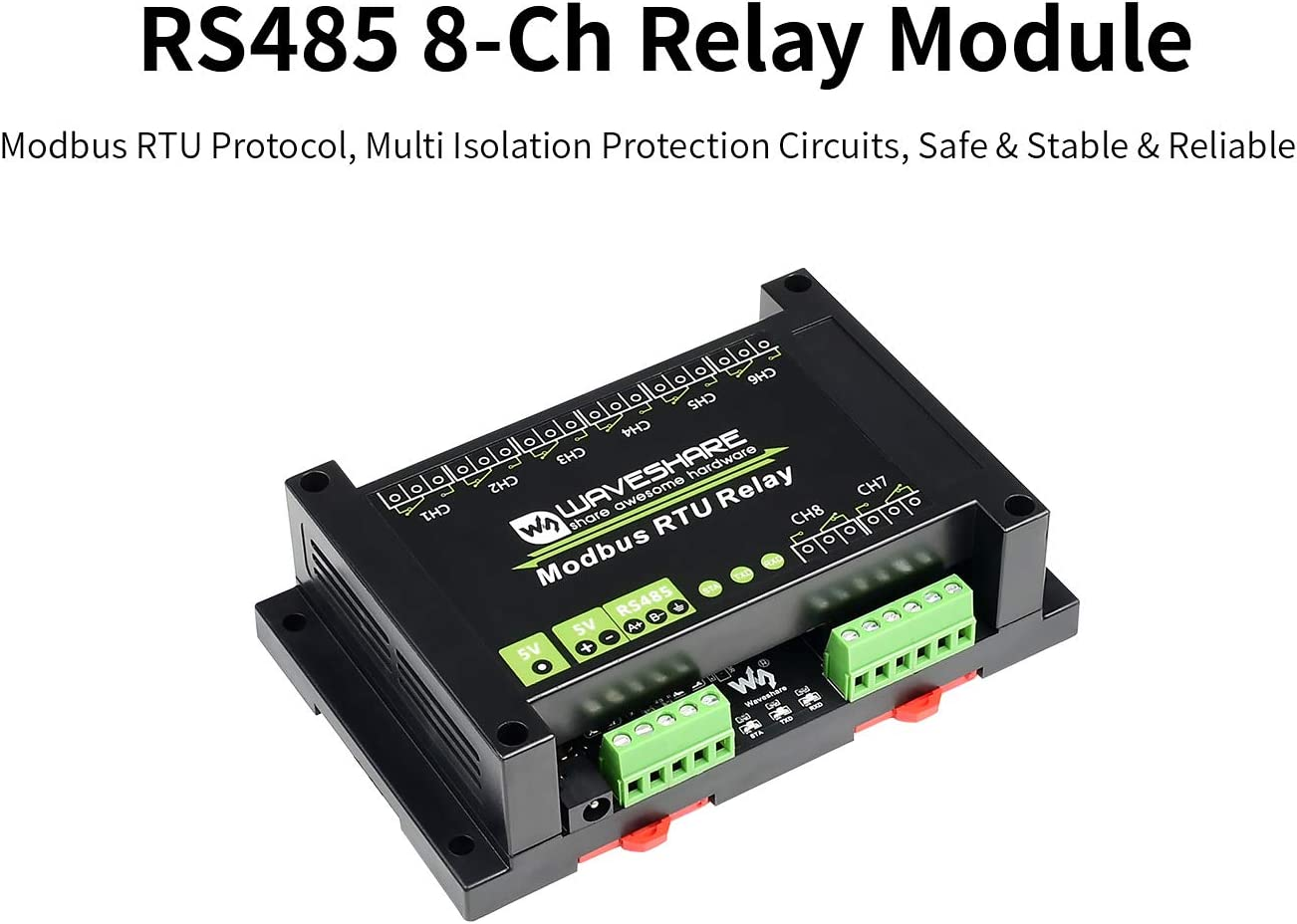 Waveshare Industrial Modbus RTU 8-ch Channel Relay Module with RS485 Interface Multi Isolation Protection Circuits with ABS Enclosure Up to 10A Contact Rating