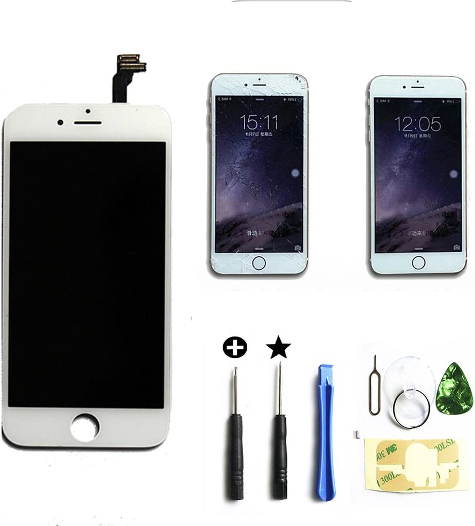 ZTR White iPhone 6 Plus 5.5 inch Retina LCD Touch Screen Digitizer Glass Replacement Full Assembly with Repair Kit