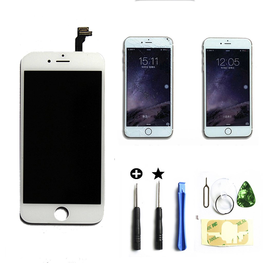 White iphone 6 plus 5.5 inch Retina LCD Touch Screen Digitizer Glass Replacement Full Assembly with repair kit