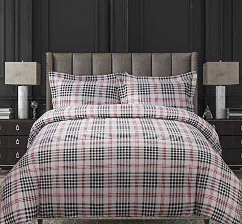 Tribeca Living Plaid Printed Flannel 200 GSM Luxury Duvet Cover Set, Queen, Multicolor (Cover Canada Sets Duvet)