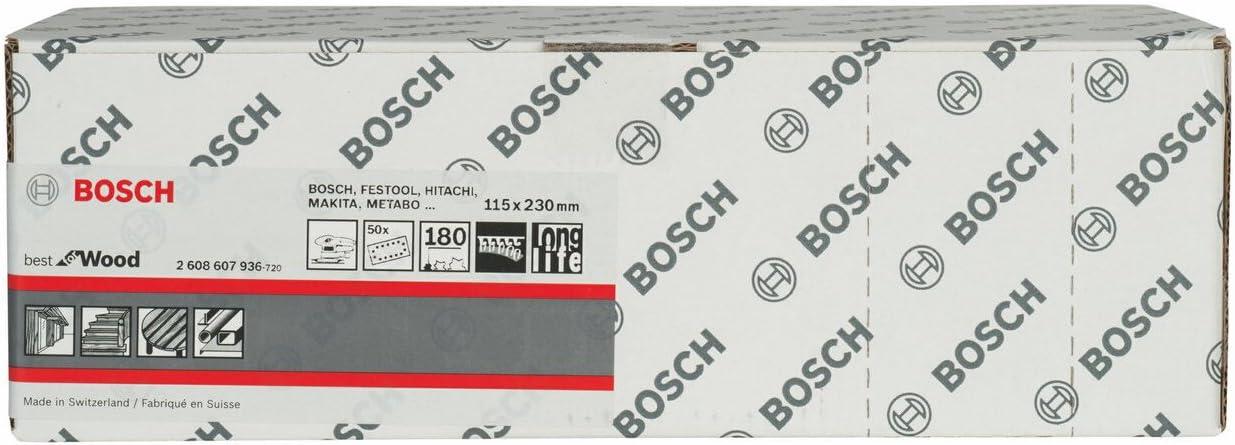 Bosch 2608607936 Abrasif 50 pi/Ã/¨ces Bois 115 x 230 mm Grain 180
