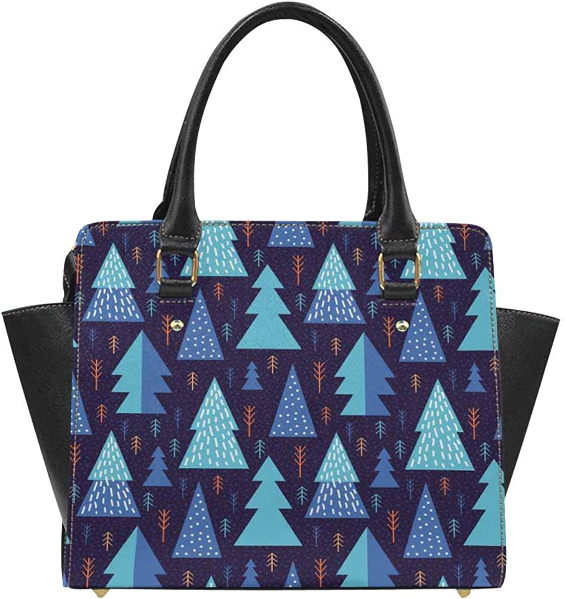 INTERESTPRINT Geometric Forest Classic Top Handle Shoulder Handbag