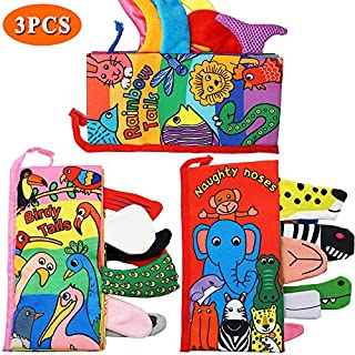 Here Fashion Pack of 3 Soft Animal Tails Cloth Books for Babies - Colorful Animals Stereoscopic Tails Cloth Books for Baby's Early Learning Education Book ( Birdy, Naughty Nose& Rainbow Tail )