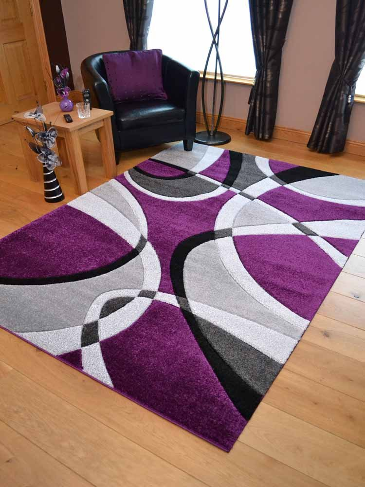 Super Verso Purple Silver Modern Hand Carved Dense Rug. Available in 6 sizes (60cm x 110cm) Rugs Supermarket