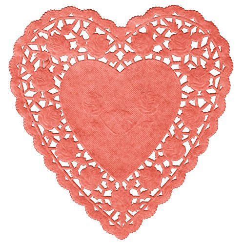 Paper Hearts Lace Doilies 100 pc (6 IN, Red Heart) ()