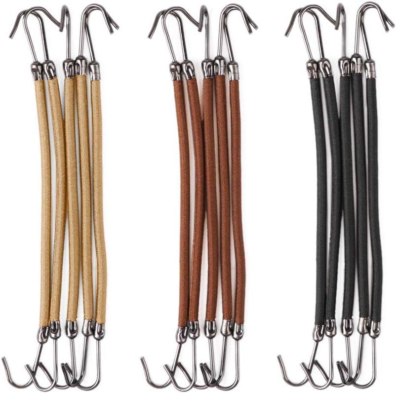 RUNGAO - 15 gomas elásticas con gancho para el pelo, 3 colores, para mujer o niña; para coleta, moño, trenzas, accesorios para el cabello
