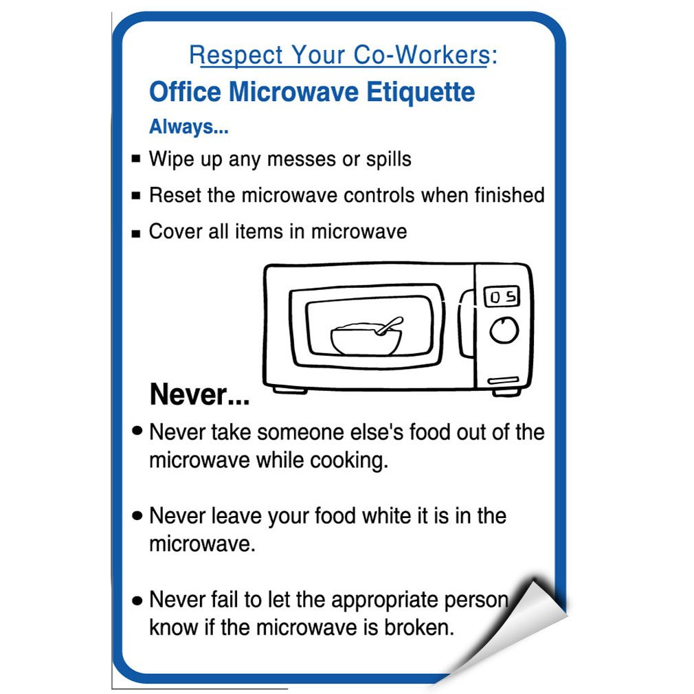 Clean Office Kitchen Signs: Office Microwave Etiquette Printable Signs