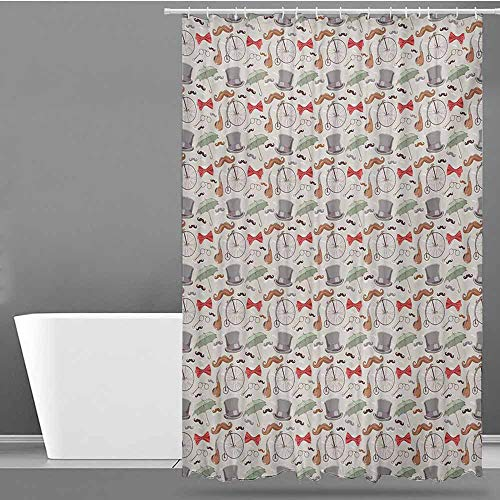 (Home Decor Shower Curtain,Bicycle 1940s Objects of High-Wheel Bicycle Lorgnette Bow Tie Handlebar Moustache Umbrella,Art Print Polyester,W72x96L,Multicolor)