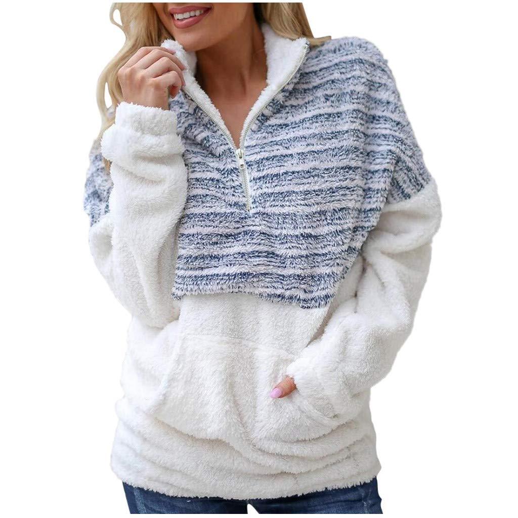 Women Velvet Long Sleeve Half Zip Plus Size Sweatshirt Fuzzy Fleece Jacket Winter Outwear with Pockets by HNTDG by HNTDG