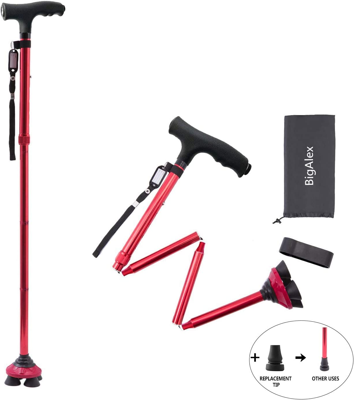 BigAlex Folding Walking Cane with LED Light,Pivoting Quad Base,Adjustable Walking Stick with Carrying Bag for Man/Woman (4.9'-5.6' Red )