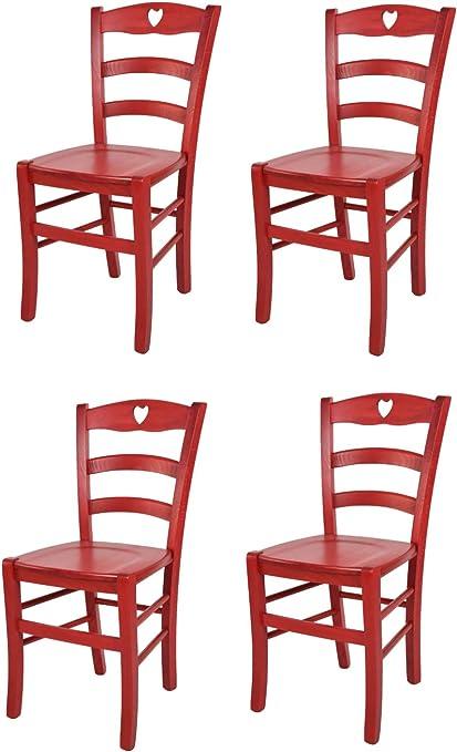 Tommychairs Set 4 Sedie Classiche Cuore 38 per Cucina, Bar e Sala da Pranzo, con Robusta Struttura in Legno Color anilina Rossa e Seduta in Legno