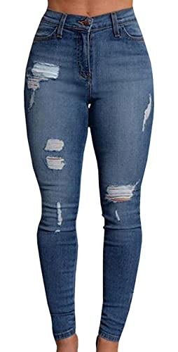 Feel Show Womens Denim Stretch Jeans Skinny Ripped Distressed Pencil Pants (Asian Size, 1-2 Size Up ...