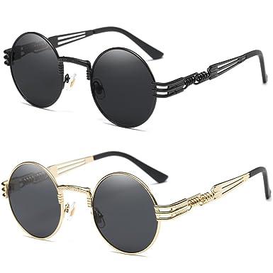 c8466b59b12 Dollger 2 Pack John Lennon Round Sunglasses Steampunk Metal Frame Mirror  Lens