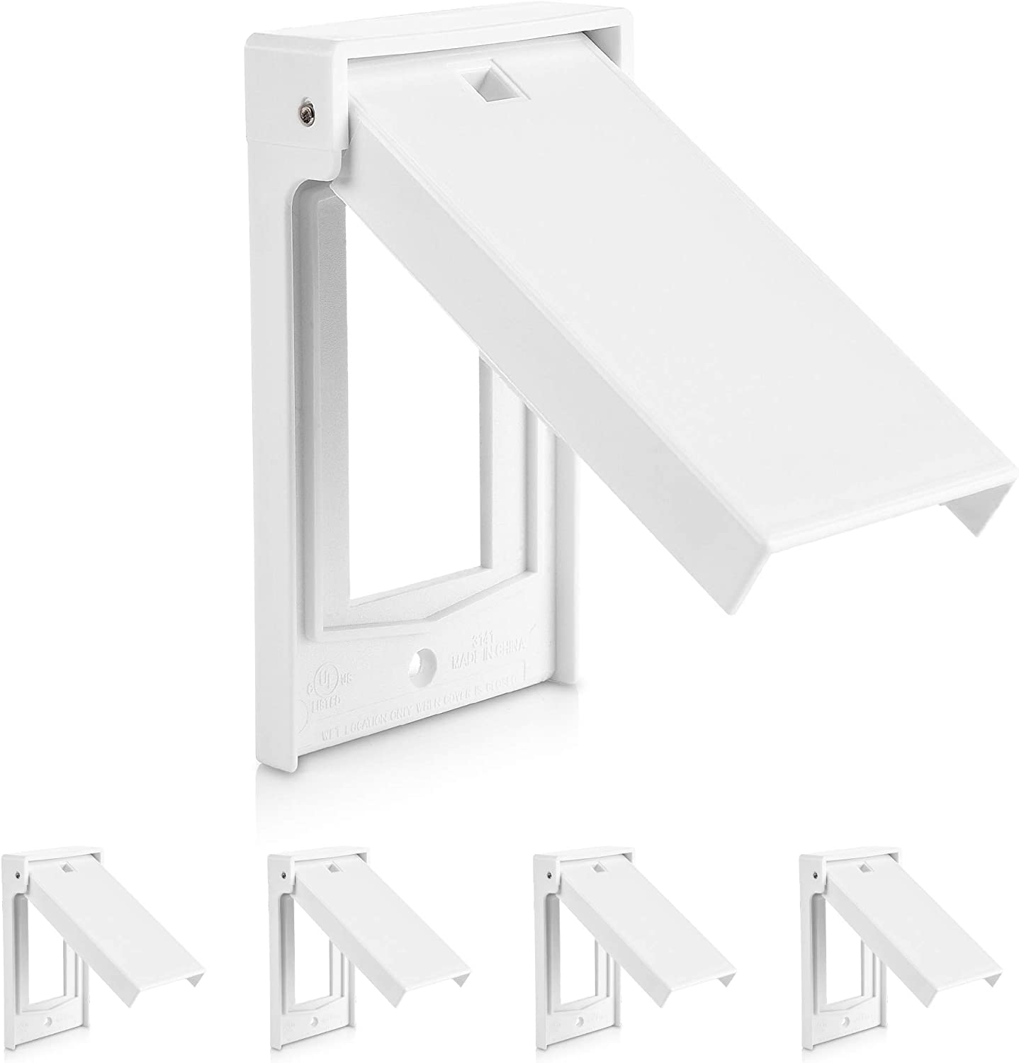 Cable Matters UL Listed 5-Pack Weather Resistant Decorator Device Wall Plate, Vertical Outdoor Switch Cover in White
