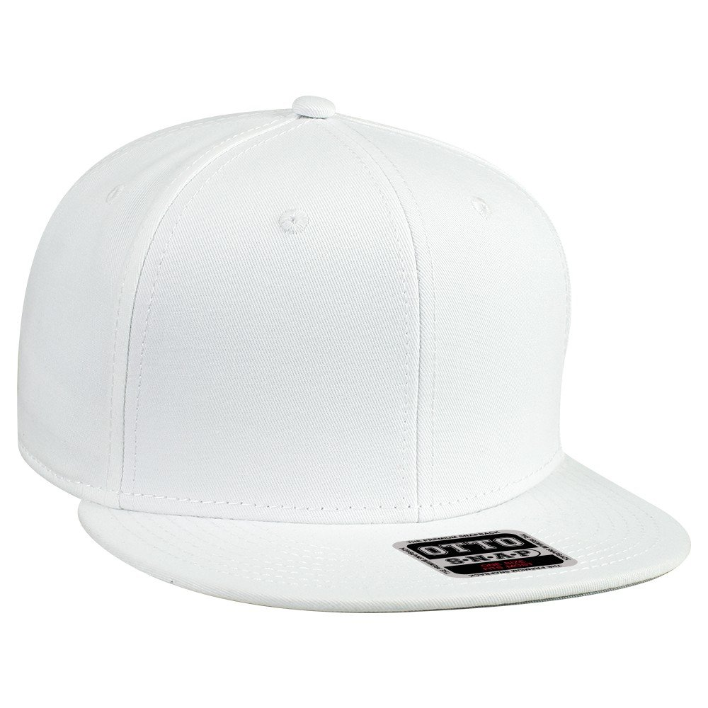 OTTO SNAP Cotton Twill Round Flat Visor 6 Panel Pro Style Snapback Hat - White