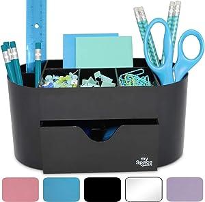 Acrylic Desk Organizer for Office Supplies and Desk Accessories Pen Holder Black Office Organization Desktop Organizer for Room College Dorm Home School (Black)
