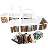 Evelots 2 CD Portable Zippered Clear Storage Bags, 44 CDs Per Bag,Holds 88 Total