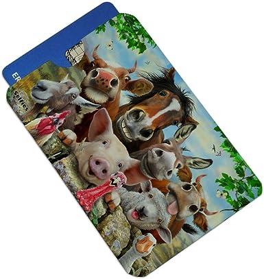 Farm Selfie Horse Pig Chicken Donkey Cow Sheep Credit Card RFID Blocker Holder Protector Wallet Purse Sleeves Set of 4