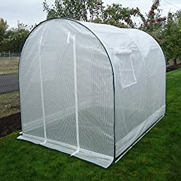Greenhouse-Weatherguard Walk In Arched Top Garden Hot House Fully Enclosed - Screend Windows for Ventilation, Zippered Door (6\'W x 8\'L x 6\'6\