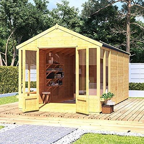 Caseta BillyOh para el jardín, machihembrada, con tejado triangular y cubierta de fieltro (