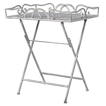 Amazon.de: Vintage Style grau Metall-Tisch mit Tablett aus Holz ...