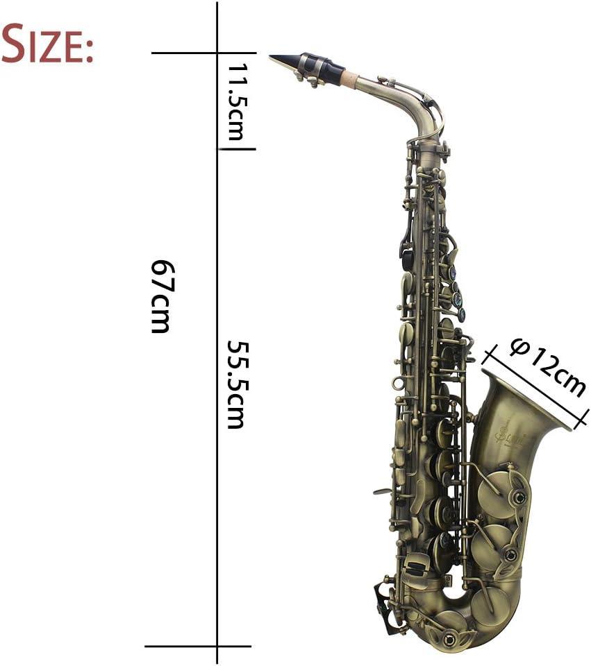ammoon Alta Calidad con Acabado Antiguo Curva Eb Mi Bemol Saxofón ...