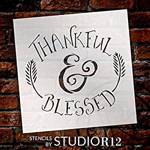 Thankful & Blessed - Funky Fall Style - Word Art Stencil - 12