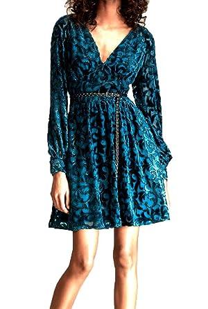 dab2195e70a Michael Kors Velvet Devoré Dress Raglan SLV Short Dress Luxe Teal  MF88Y8X9PJ 359  Amazon.co.uk  Clothing