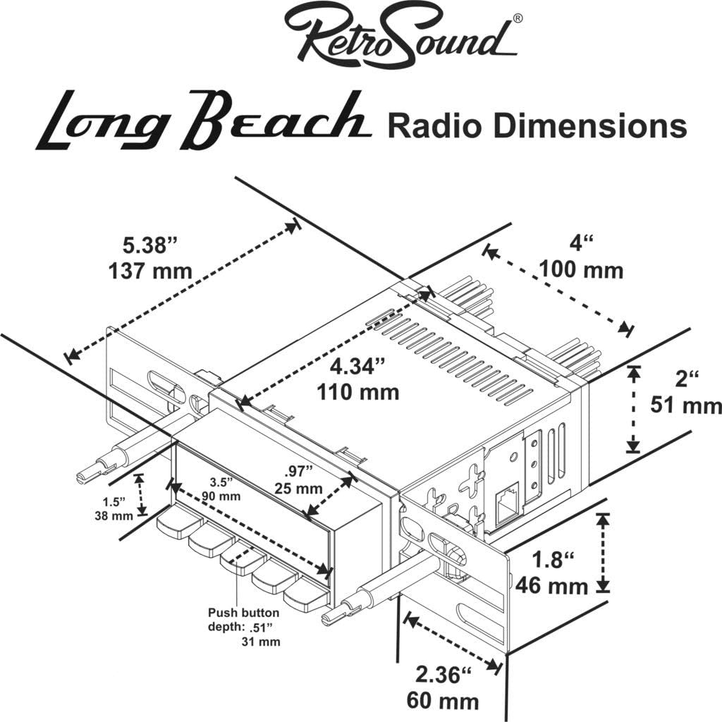 Bezel /& Knobs Kit LB-M4-402-40-90 Retro Manufacturing Long Beach Radio with Black Face and Pushbuttons