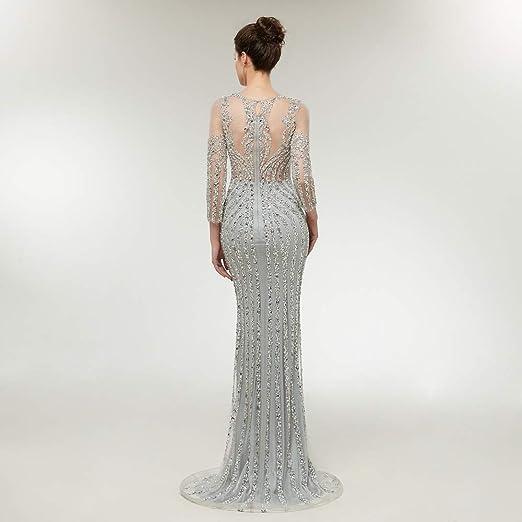 9deed1a9ece Amazon.com  Leyidress Luxury Crystals Beading Wedding Dress Mermaid Bridal  Gown Evening Dresses Size 2 4 6 8 10 12 14  Clothing