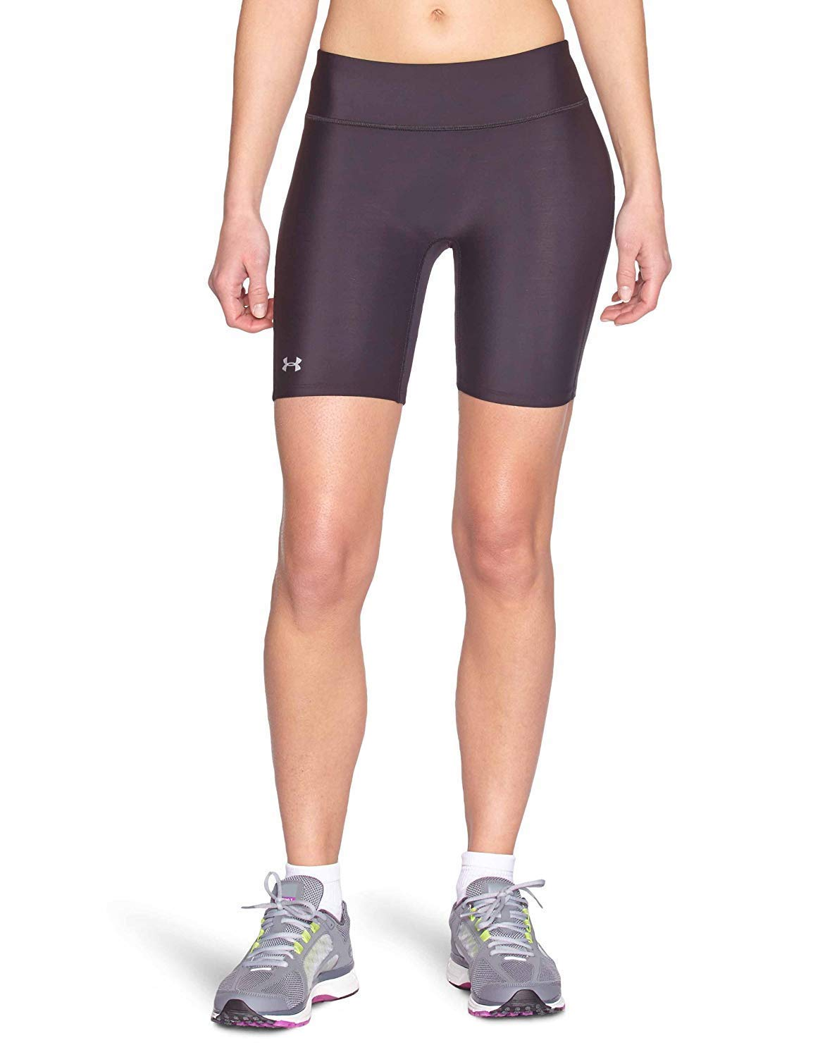 Under Armour Women's HeatGear Authentic Long Shorts, Black (001)/Silver, X-Small by Under Armour
