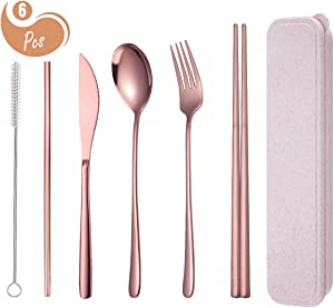 AARainbow 6 Pieces Stainless Steel Flatware Set Reusable Cutlery Set Travel Utensils Set Chopsticks Knife Fork Spoon Portable Dishwasher Safe (Rose Gold)