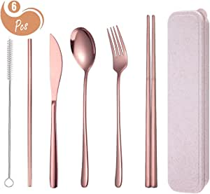 AARainbow 6 Pieces Stainless Steel Flatware Set Reusable Cutlery Set Travel Utensils Set Chopsticks Knife Fork Spoon Portable Dishwasher Safe (Rose Gold)