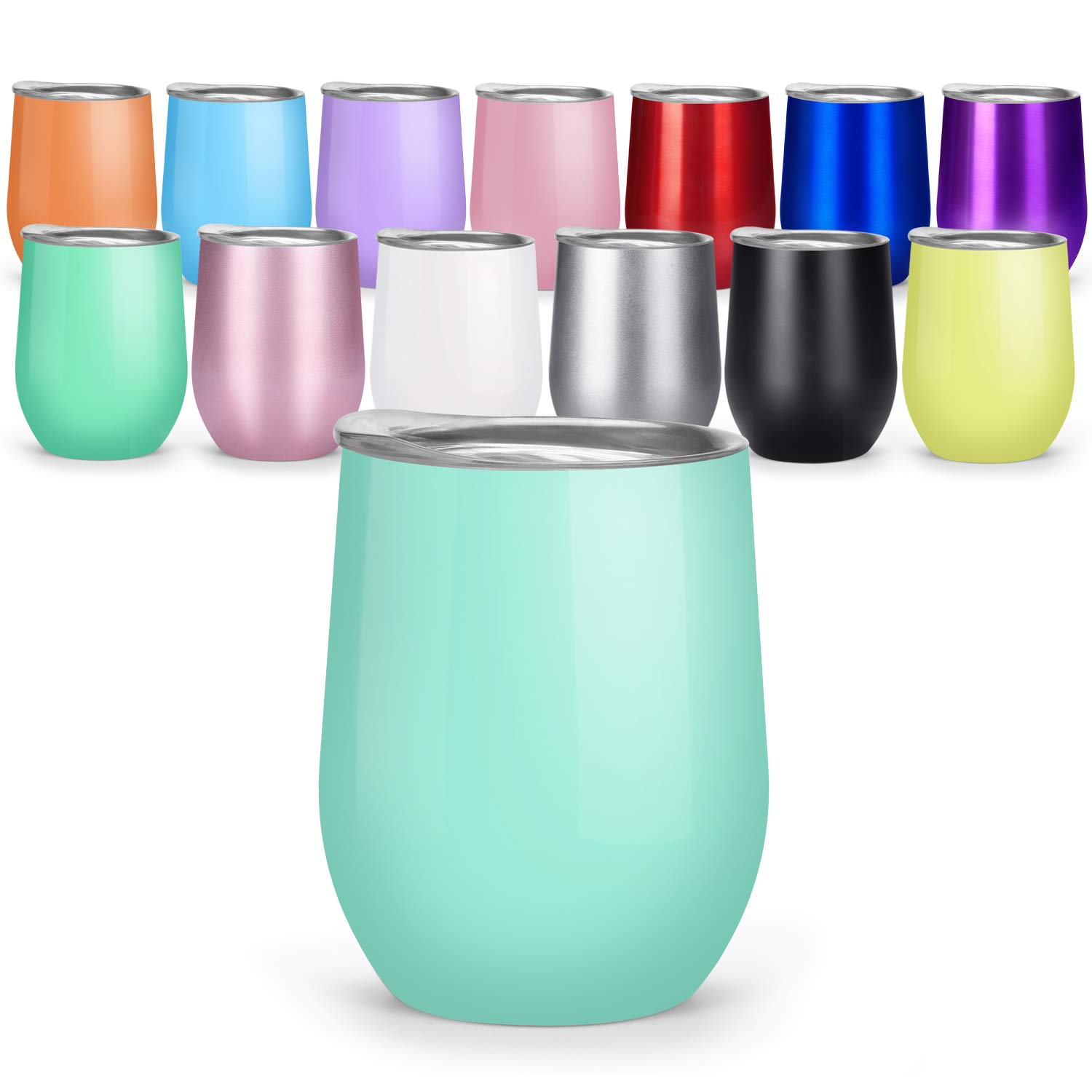 12 oz Insulated Stemless Glass,Wine Tumbler Steel Coffee Tumbler with Lid for Home,Office, Wine, Coffee, Champagne, Drinks, Cocktails
