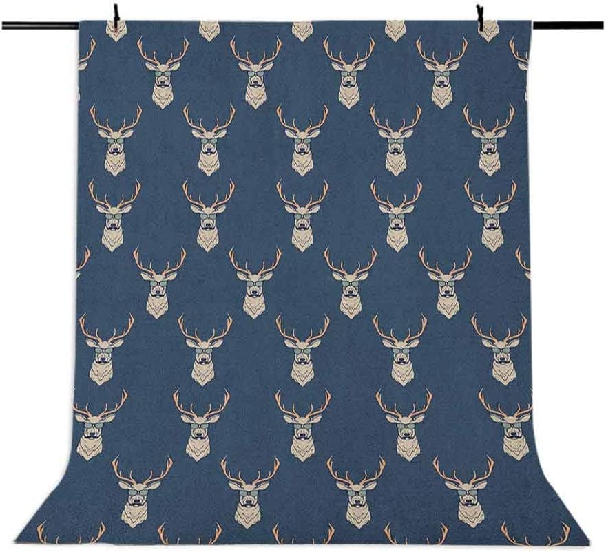9x16 FT Deer Vinyl Photography Backdrop,Hipster Inspired Deer with Antlers Glasses Mustaches Funny Animal Pattern Vintage Background for Baby Birthday Party Wedding Graduation Home Decoration