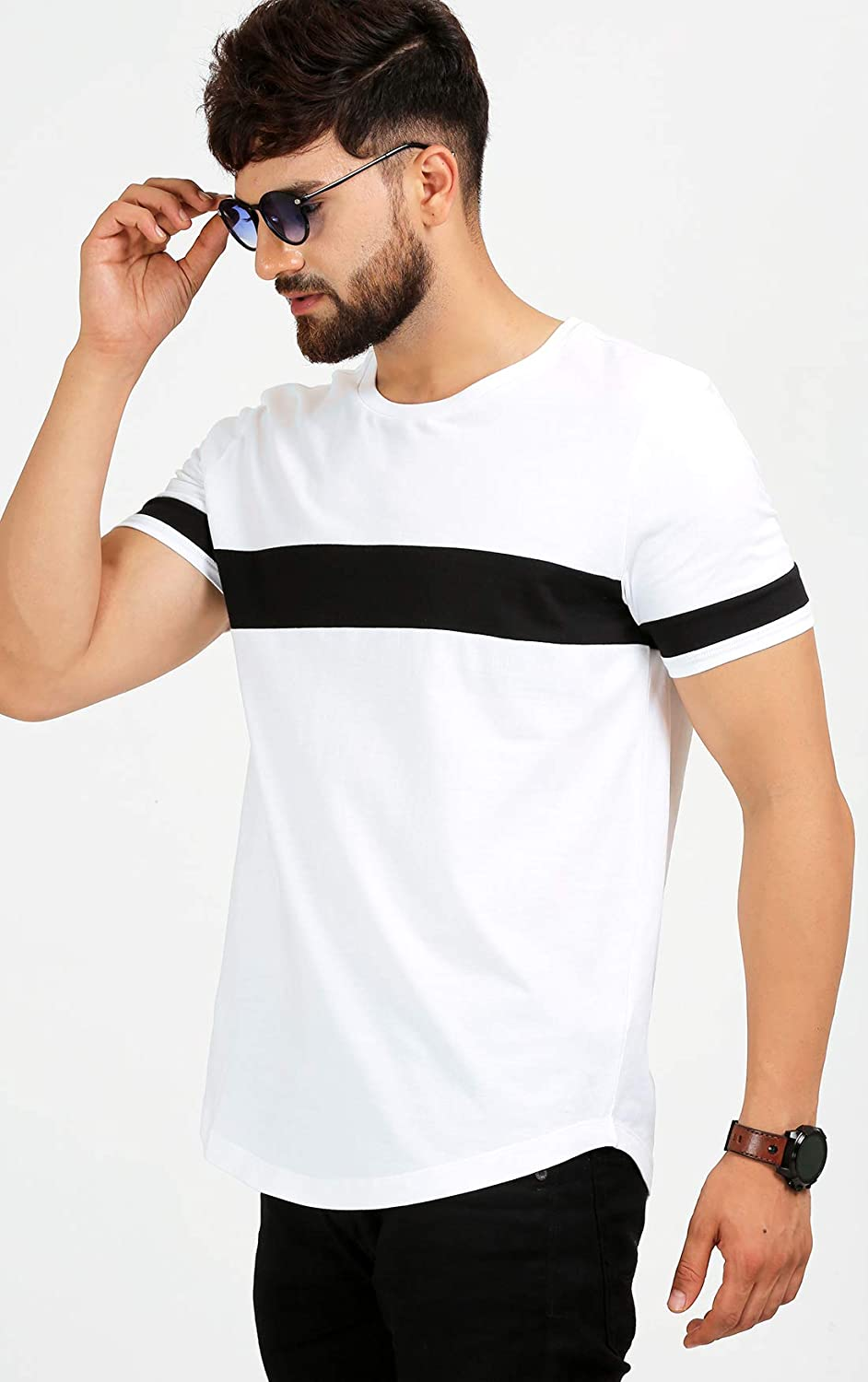 ba55ad463 AELOMART Men's Cotton T Shirt-(Amt1072-P_White): Amazon.in: Clothing &  Accessories