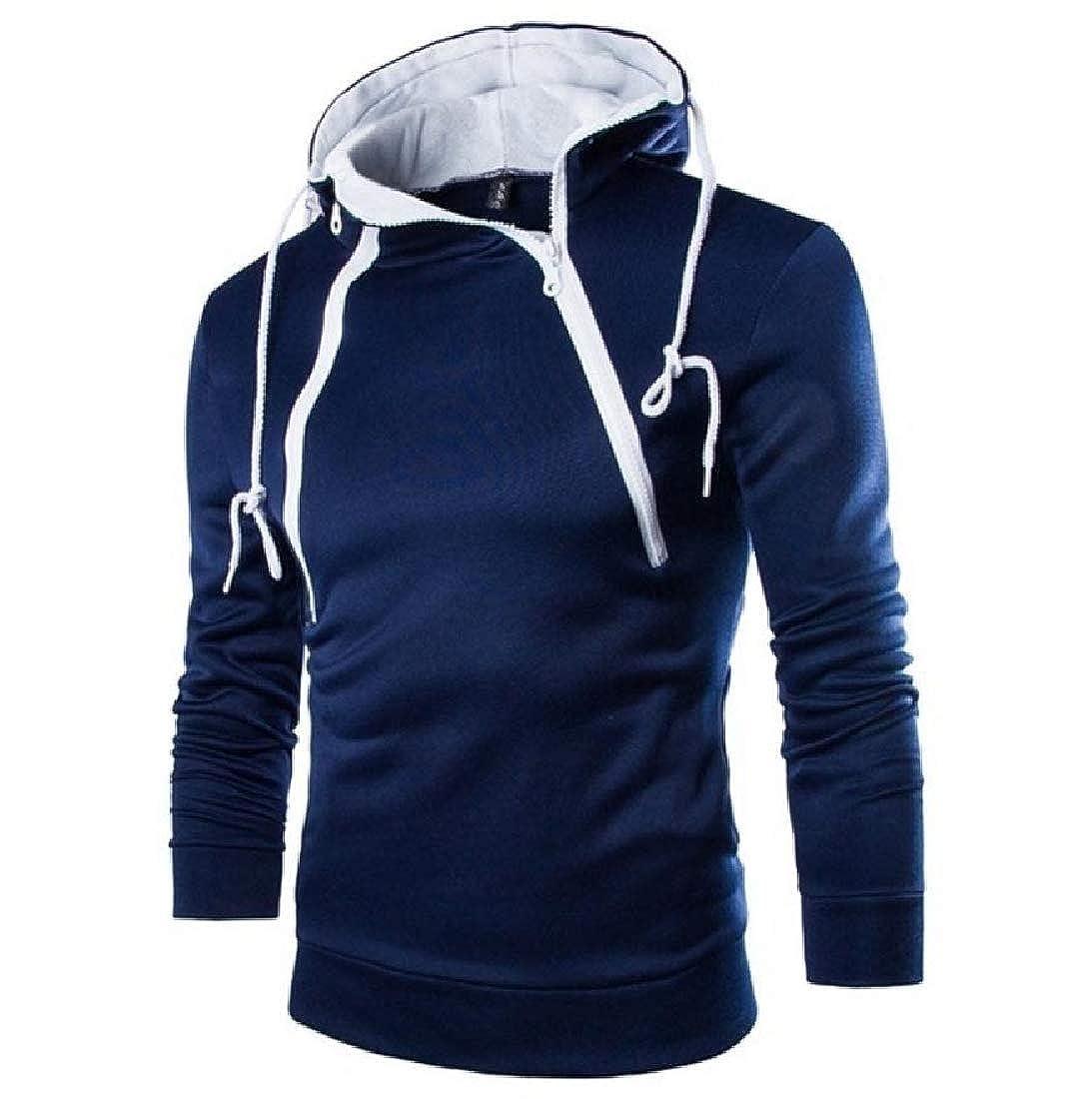 Doufine Men Turtleneck Hoodies Sweater Coats Sport Running Pullover
