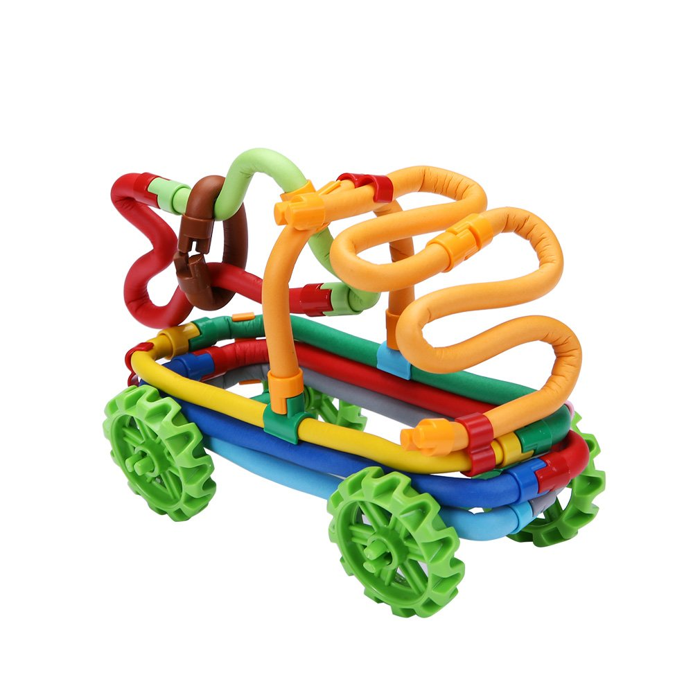 PlayMaty 84 Pieces Colorful Soft Building Sticks - Construction Toy Set Stackable Flexible Sticks Bending Building Blocks Delightful Imagination Rainbow Twist Rod for Kids Early Learning Gifts