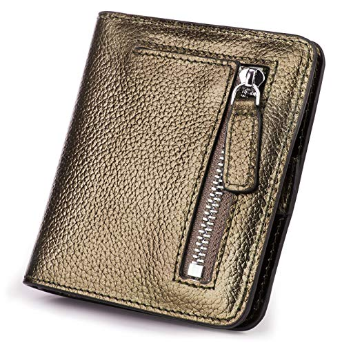 BIG SALE-AINIMOER Women's RFID Blocking Leather Small Compact Bifold Pocket Wallet Ladies Mini Purse with id Window (Bronze)