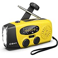 Esky [Upgraded Version] Portable Emergency Weather Radio Hand Crank Self Powered AM/FM/NOAA Solar Radios with 3 LED…