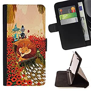 For Samsung Galaxy S5 V SM-G900 Lion Flowers Cartoon Fairy Tale Art Friends Beautiful Print Wallet Leather Case Cover With Credit Card Slots And Stand Function