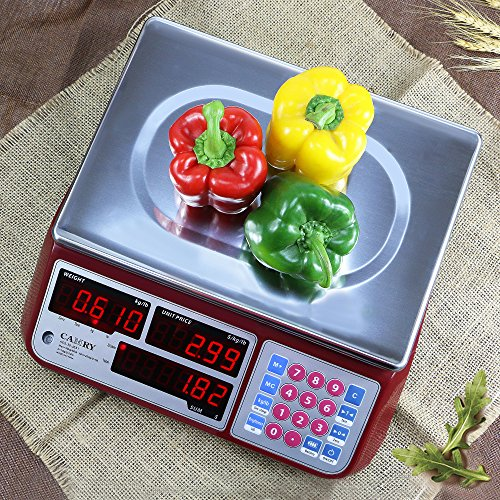 Camry Digital Commercial Price Scale 66lb / 30kg for Food Meat Fruit Produce with Dual Bright Red LED Display Stainless Steel Platform Rechargeable Battery Included Not for Trade
