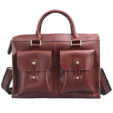 3f609c0e9a71 AYOUYA Genuine Leather Canvas Messenger Bag for Men and Women 14 Inches  Shoulder Business Laptop Bags