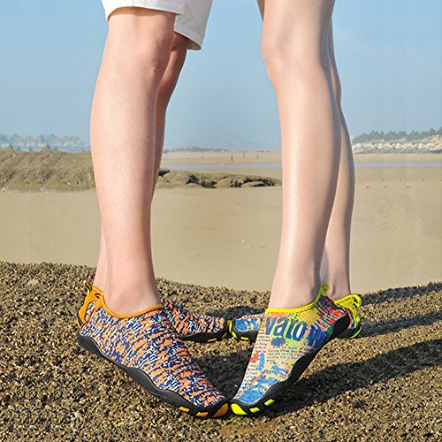 Adult Kids Pull-On Quick-Dry Skin Water Sports Aqua Shoes Socks Outdoor Sneaker Holey Ventilation KPU Outsole Yellow kugfPS