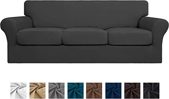 Easy-Going 4 Pieces Stretch Soft Couch Cover for Dogs - Washable Sofa Slipcover for 3 Separate Cushion Couch - Elastic Furniture Protector for Pets