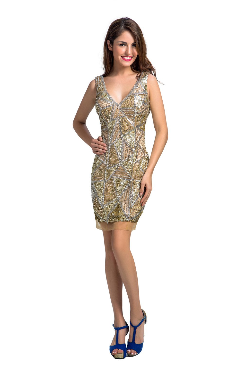 Chic Belle Gold Prom Dresses Short Cocktail Dress for Women V-neck Beaded 4