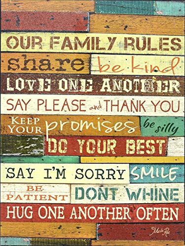 "Homekor Our Family Rules Wood Wall Art Print by Marla Rae 16 x 12 - 12"" x 16"" WOODEN CAFE-STYLE MOUNT Hanging Wall Art, Our Family Rules by Marla Rae CANVAS TEXTURED PRINT Hand painted finish not only looks good, but protects art from fading HANDCRAFTED BLACK WOODEN FRAME Ready to hang, with pre-installed flush keyhole hanger - wall-art, living-room-decor, living-room - 61DUZ0fbFmL -"