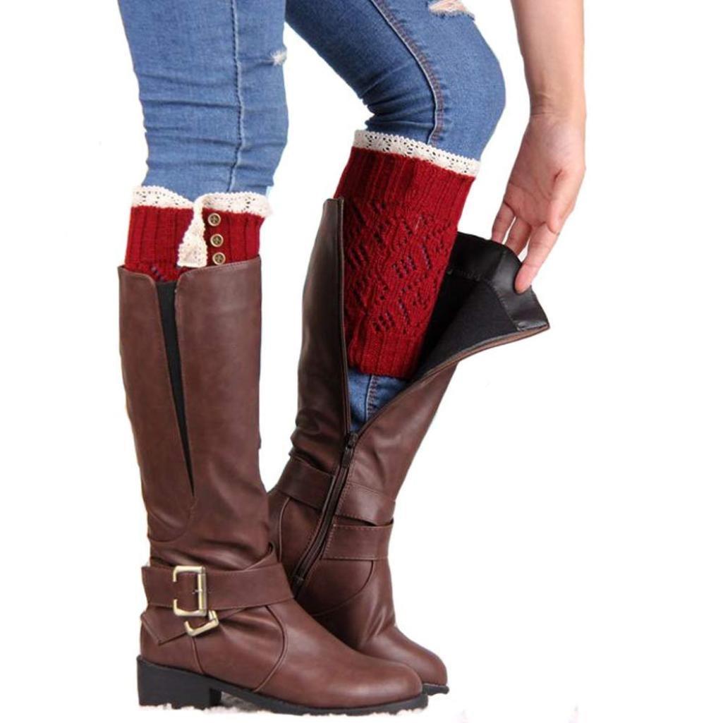 Leg Warmers, Women Lace Stretch Boot Leg Cuffs Boot Socks