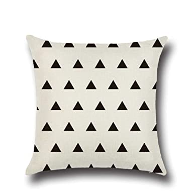 Normor Clearance! Vintage Simple Geometric Style Throw Pillow Cover Case Soft Linen Burlap Square Decorative Cushion Cover, 18 x 18 Inches (White Triangle)