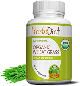 Organic Wheat Grass Whole Leaf 500mg Tablets Pills | Energy, Detox, Immune Support Alkalize Green Superfood Supplement | Non-GMO Gluten Free (240 Tablets)